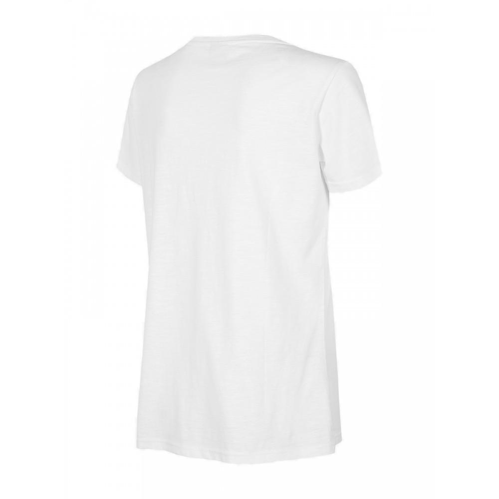 4F Koszulka Damska Bawełniana Dekolt w Serek