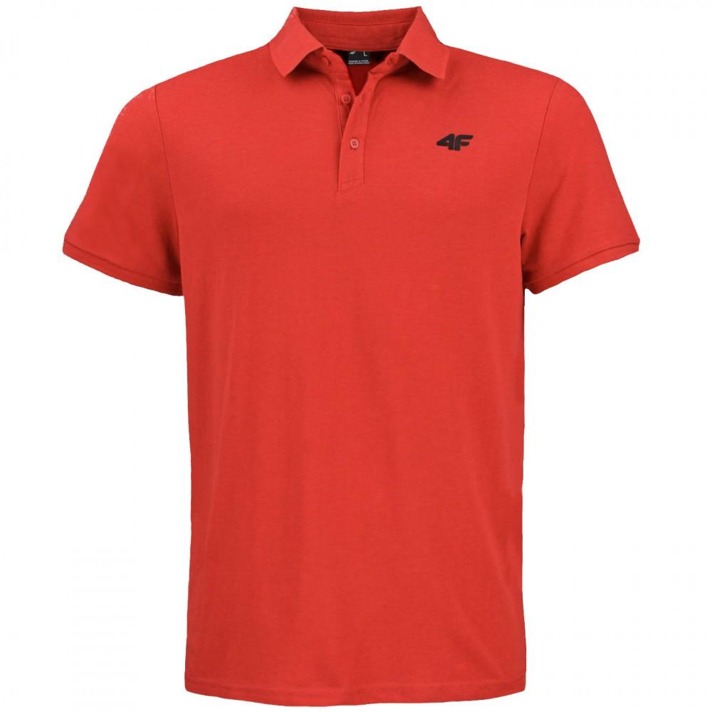 4F Koszulka Męska Polo Polówka Bawełniana Czerwona