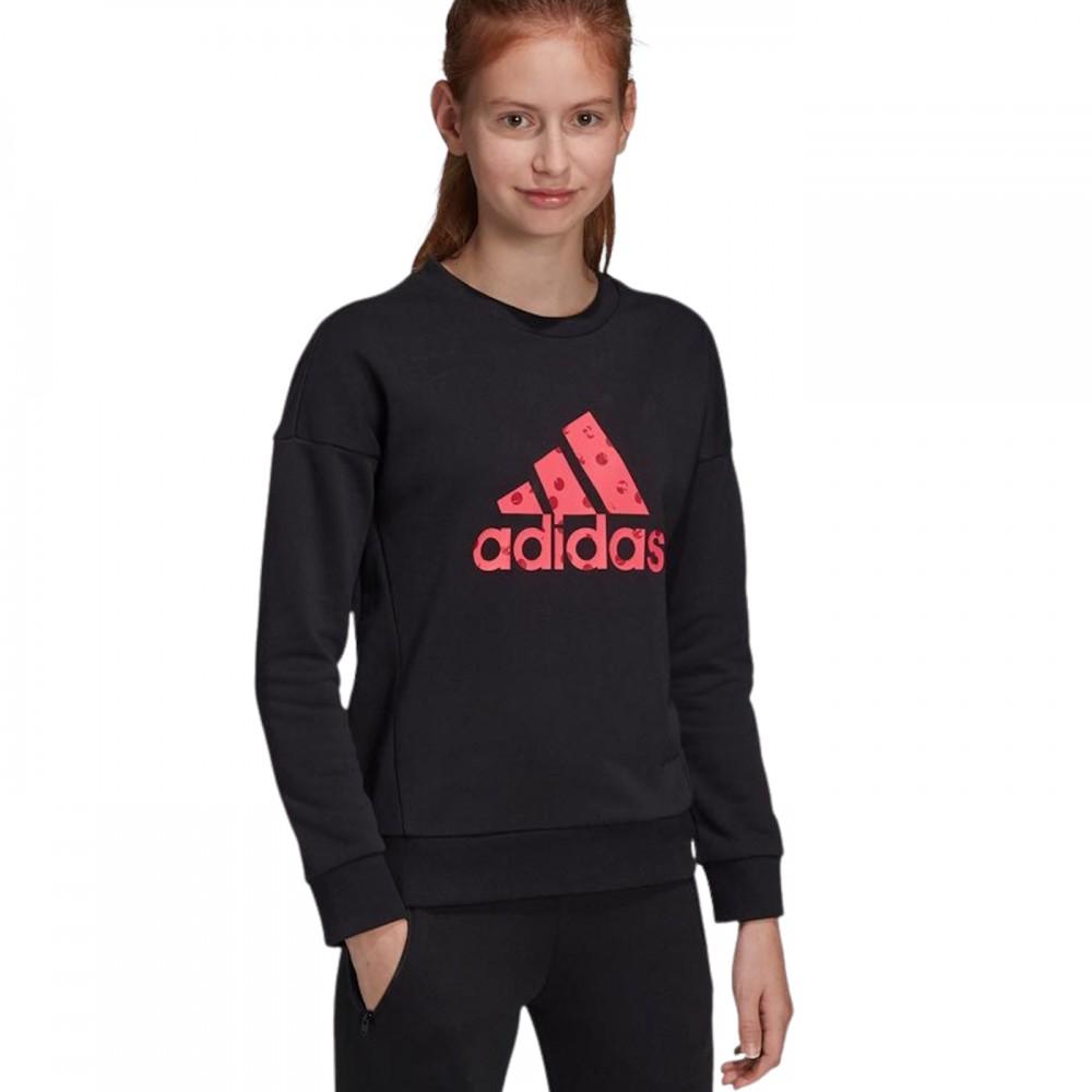 Adidas Bluza Dziewczęca Wkładana Duże Logo Czarna