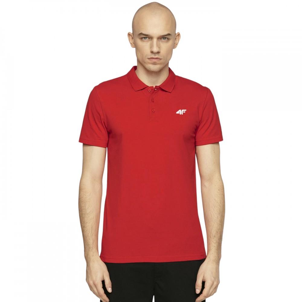 Koszulka Polo 4F Męska Polówka Bawełniana Czerwona