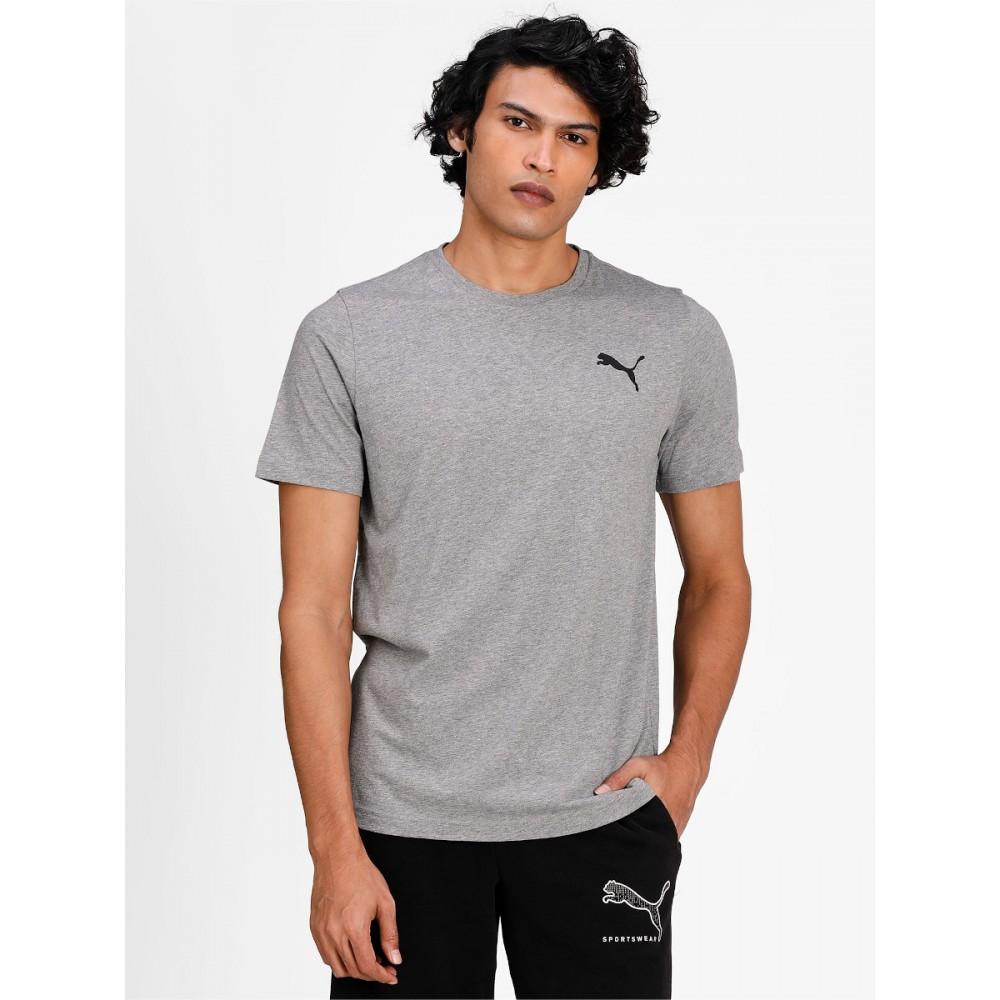 Koszulka Męska Puma T-Shirt Logo Bawełniana Szary Melanż