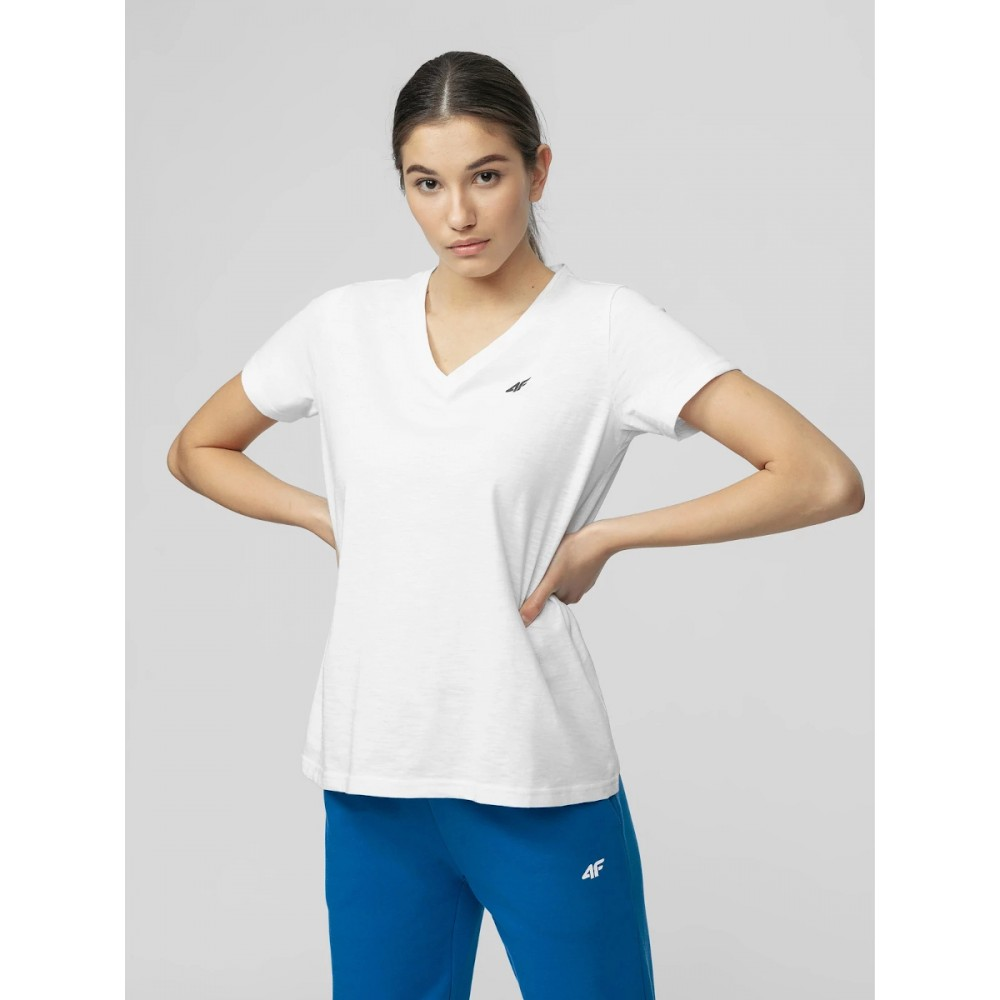 4F Koszulka Damska Bawełniana T-shirt Oversize Biała