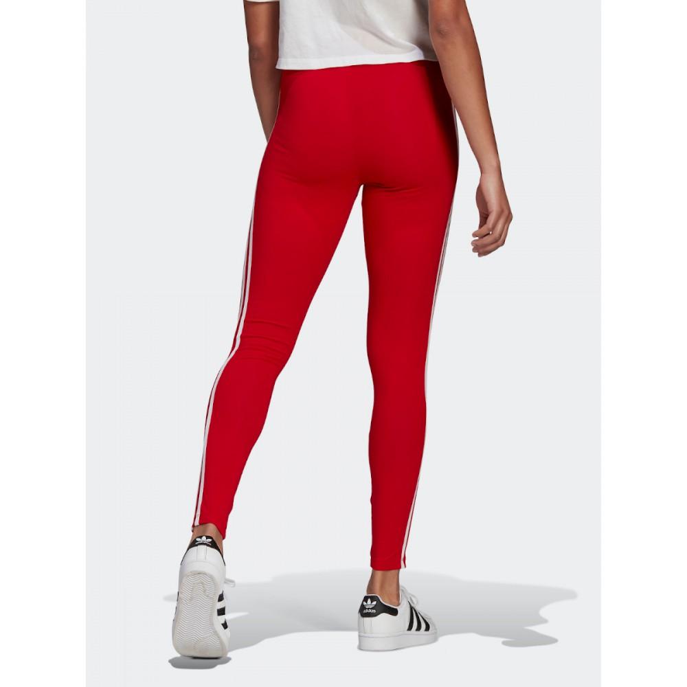 Legginsy Damskie Adidas Trzy Paski Getry Bawełniane Czerwone