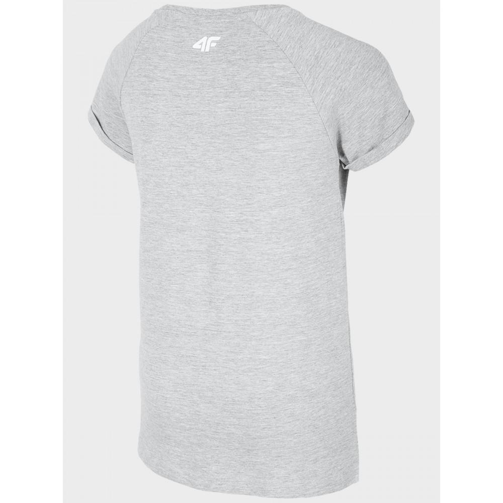 4F Koszulka Dziewczęca Dziecięca Sportowa T-shirt Szara