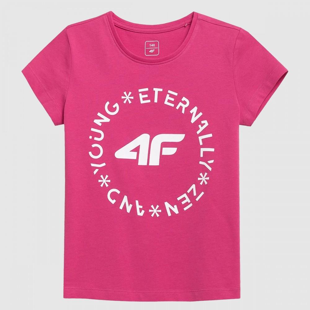 4F Koszulka Dziewczęca T-shirt Duże Różowe Laserowe Logo Różowa