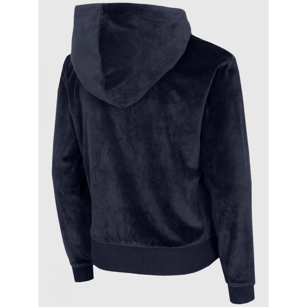 Bluza Dziewczęca 4F Welurowa Wkładana z Kapturem Granatowa