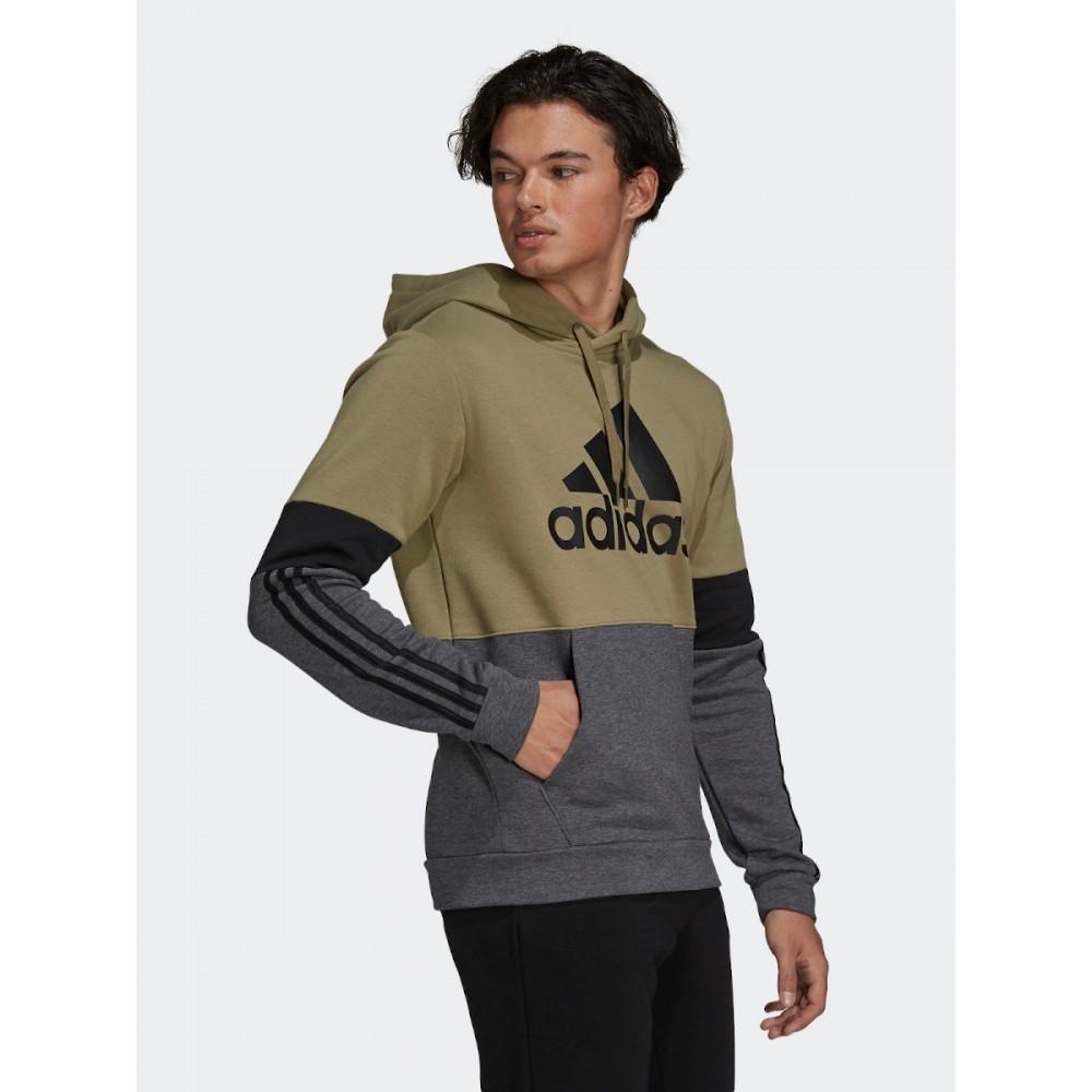 Bluza Męska Adidas ESSENTIALS FLEECE Kangurka Kaptur Khaki