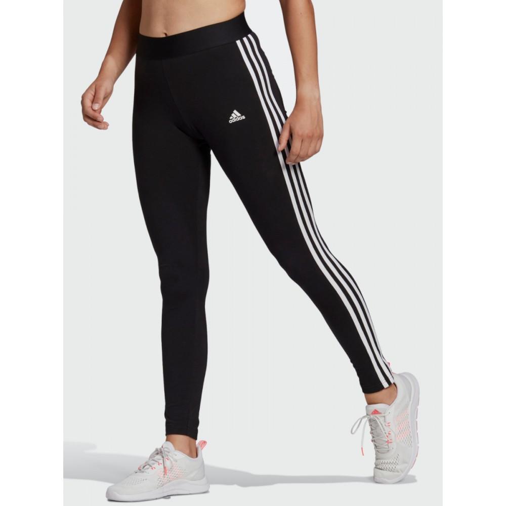 Legginsy Damskie Adidas Loungewear Essentials Trzy Paski Getry Bawełniane Czarne