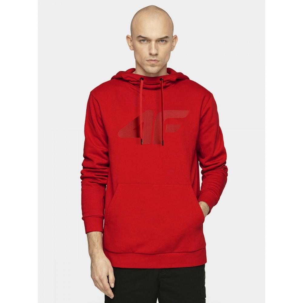 Bluza Męska 4F Dresowa Kangurka Z Kapturem Czerwona