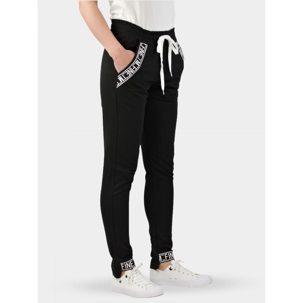 Spodnie Dresowe Damskie Bawełniane Sportowe Czarne