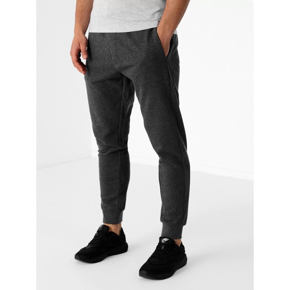 Dresowe Męskie Spodnie 4F Sportowe Bawełniane Dresy Ciemny Szary Melanż