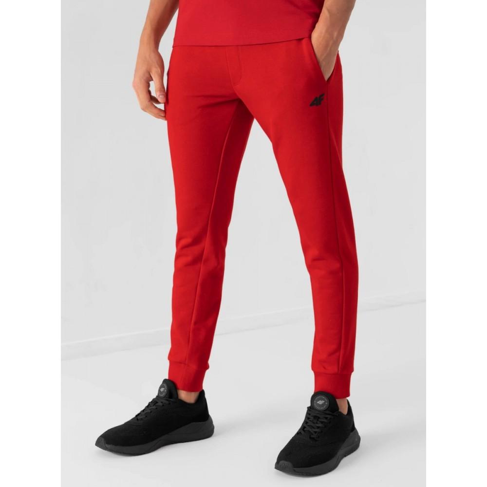 Męskie Spodnie 4F Dresowe Sportowe Bawełniane Dresy Czerwone